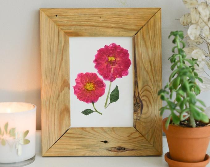 Pink Dahlia / Dahlietta | Print reproduction artwork of pressed flowers | 100% cotton rag paper | Botanical artwork