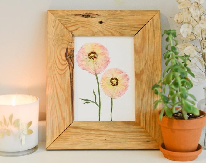 Pink Ranunculus   Print reproduction artwork of pressed flowers   100% cotton rag paper   Botanical artwork