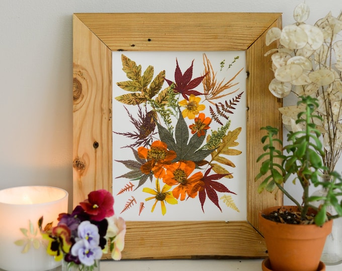 """AUTUMN / Four Seasons   Limited edition, numbered Print artwork of pressed flowers   8x10"""" 100% cotton rag paper   Botanical artwork"""