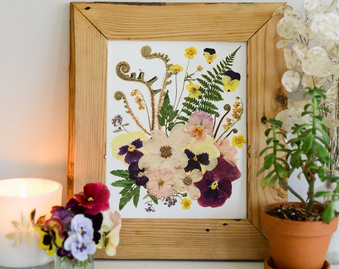 """SPRING / Four Seasons   Limited edition, numbered Print artwork of pressed flowers   8x10"""" 100% cotton rag paper   Botanical artwork"""