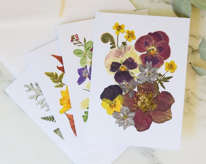 """Four Seasons   Blank Greeting Cards, set of four, with white linen envelopes   Print reproduction of pressed flower designs   4.5x6"""""""