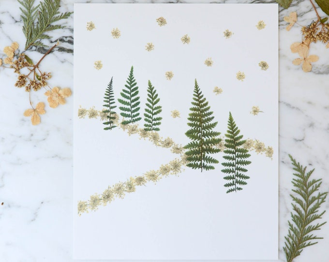 Snowy Hills | Print reproduction artwork of pressed flowers | 100% cotton rag paper | Seasonal Holiday Botanical artwork