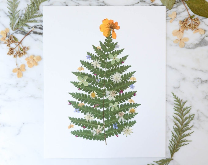 Festive Florals | Print reproduction artwork of pressed flowers | 100% cotton rag paper | Seasonal Holiday Botanical artwork