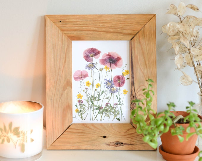 Poppy meadow | Print reproduction artwork of pressed flowers | 100% cotton rag paper | Botanical art