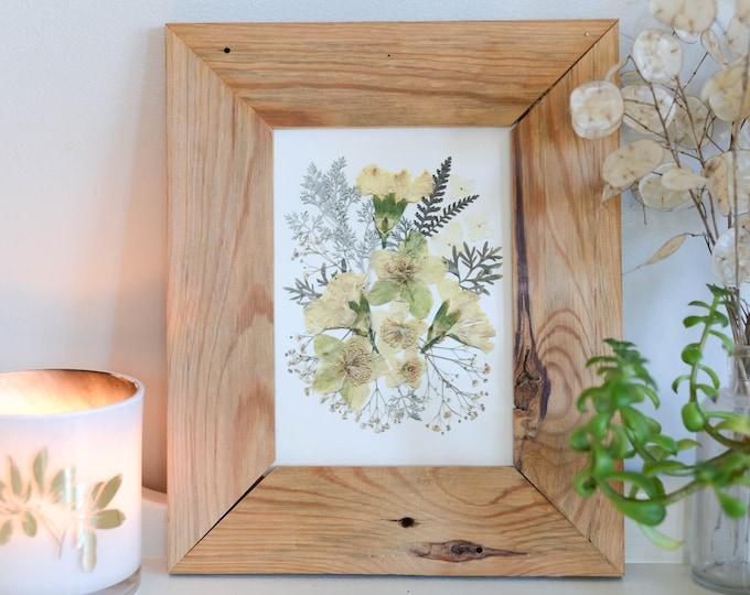 "JANUARY | Print artwork of pressed flowers, Carnations, Baby's Breath | 5x7"" 8x10"" 11x14"" 100% cotton rag paper | Botanical artwork"