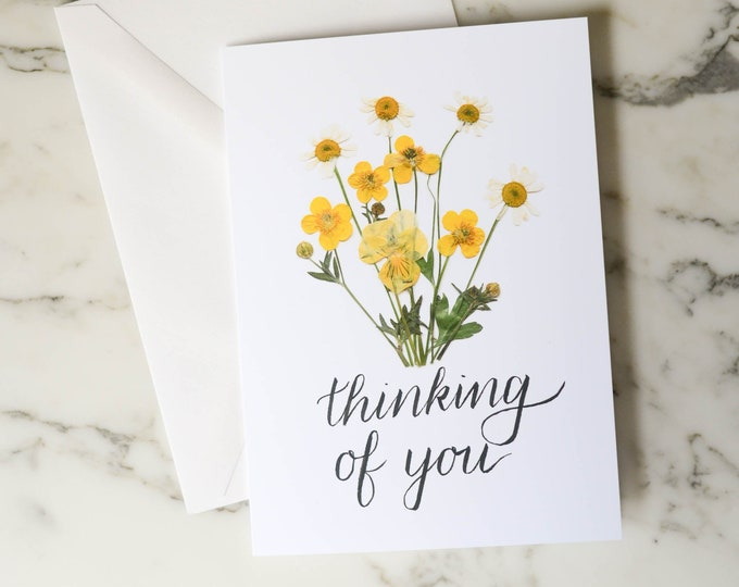 Thinking of You | Blank Greeting Card with white linen envelope | Print reproduction of pressed flower design | 4.5x6""