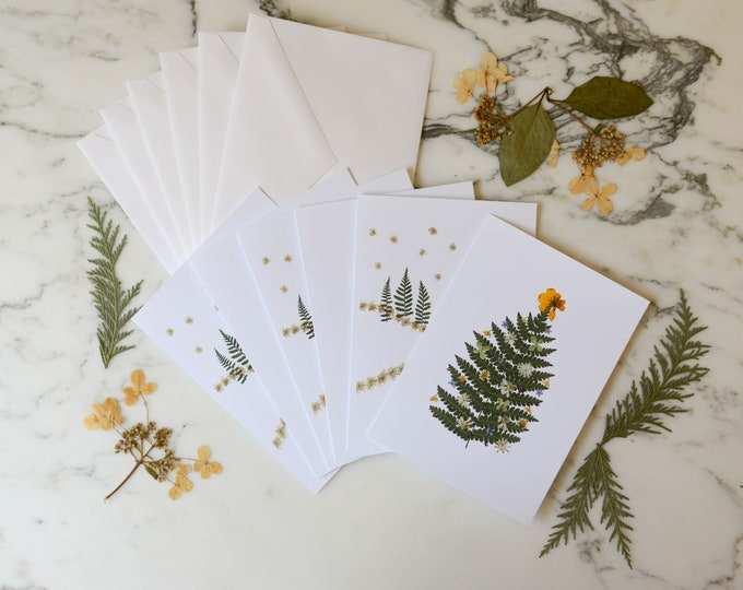 Pressed Flower Holiday | Blank Greeting Cards with white linen envelopes | Print reproduction of pressed flower designs | 4.5x6""