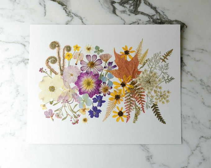 Four Seasons: one-of-a-kind real pressed flower art, 11x14"