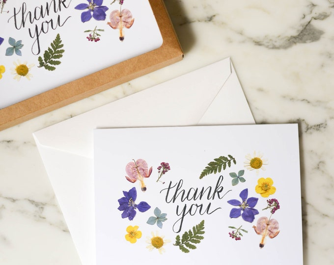 Thank You | Boxed set of 6 | Blank Greeting Cards with white linen envelopes | Print reproduction of pressed flowers | 4.5x6""