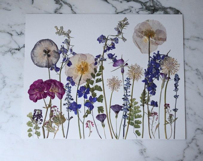 "ORIGINAL: Summer Meadow | Real pressed flower artwork, Four Seasons 2020 series, 11x14"" | Botanical artwork"