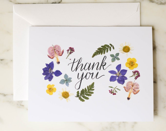 Thank You | Blank Greeting Card with white linen envelopes | Print reproduction of pressed flowers | 4.5x6""