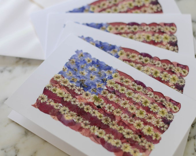 Flowered Glory   Set of Printed Blank Greeting Cards, white linen envelopes   Print reproduction of pressed flower designs   American Flag