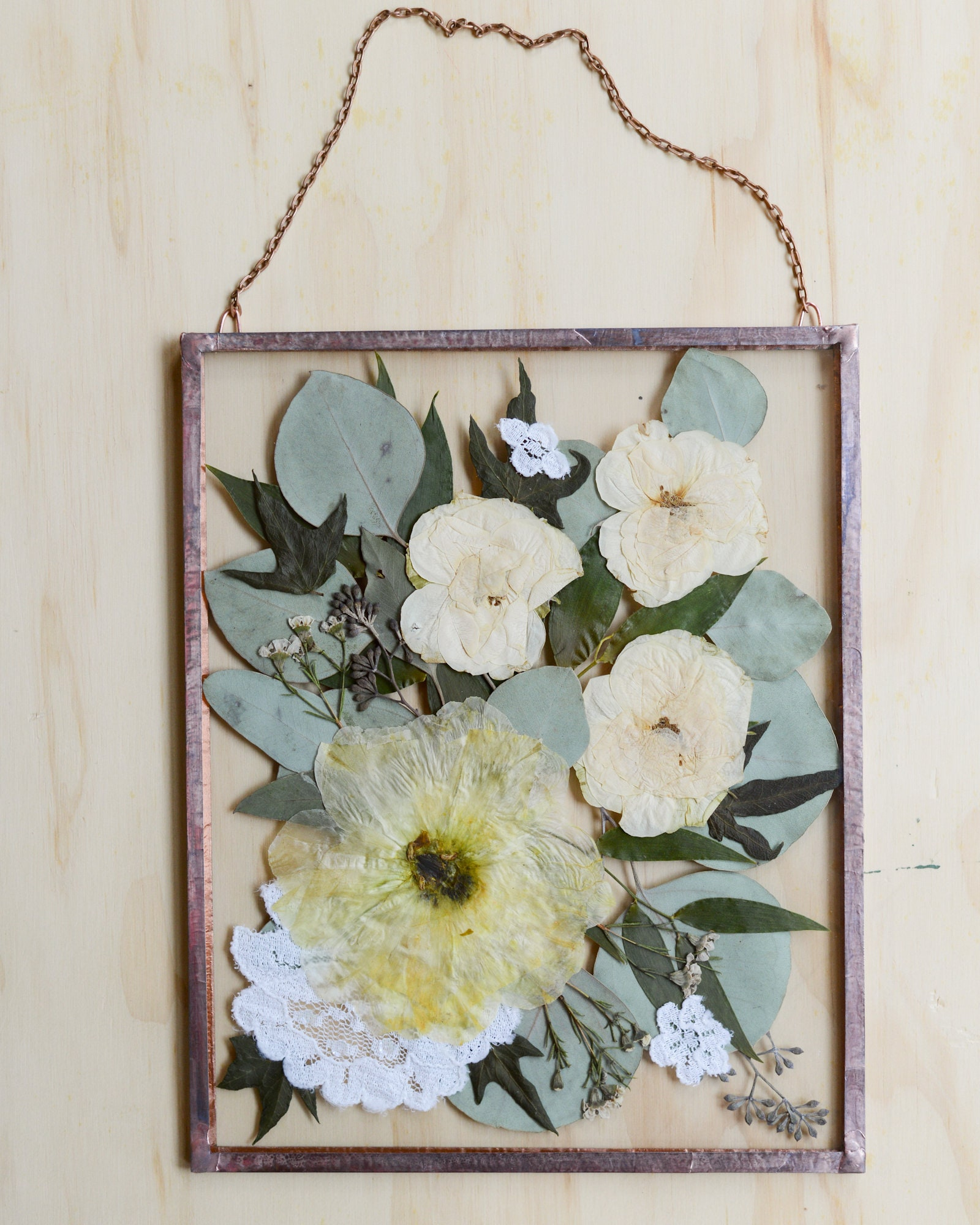 Pressed Wedding Flowers: Real Pressed Wedding Flower Wall