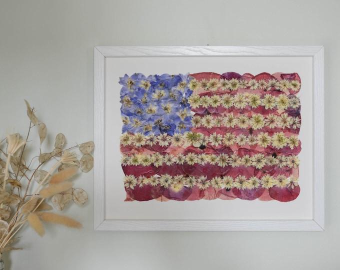 Flowered Glory   Print reproduction artwork of pressed flowers   100% cotton rag paper   Botanical artwork, American Flag