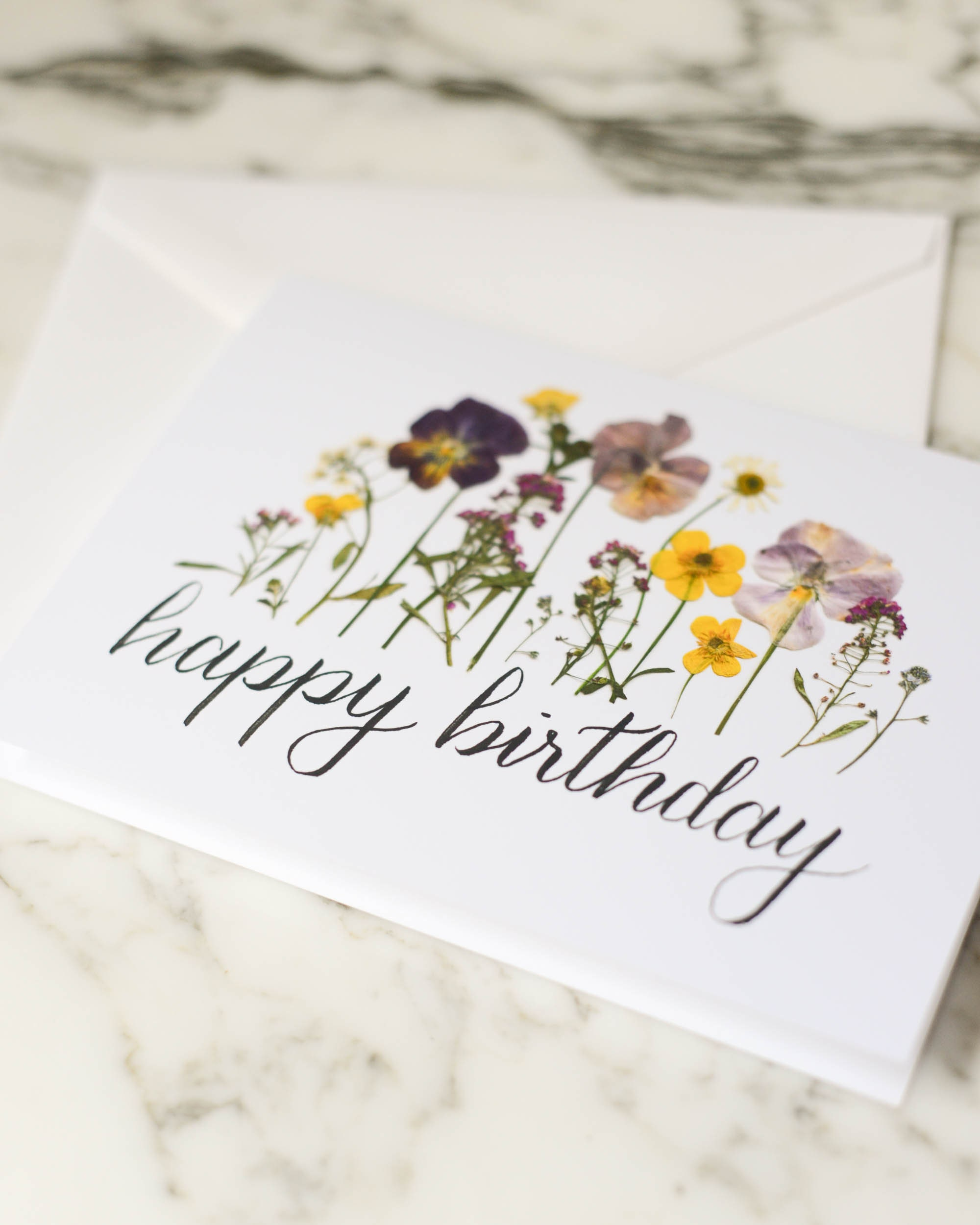 happy birthday  blank greeting card with white linen