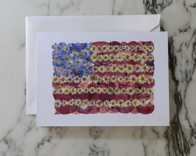 """Flowered Glory   Blank Greeting Card with white linen envelope   Print reproduction of pressed flower design   American Flag"""""""