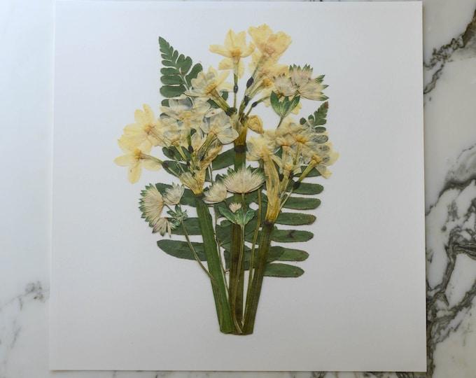 The December Bouquet   Print artwork of pressed flowers   100% cotton rag paper   Birth month flowers, Botanical artwork, Nursery Art