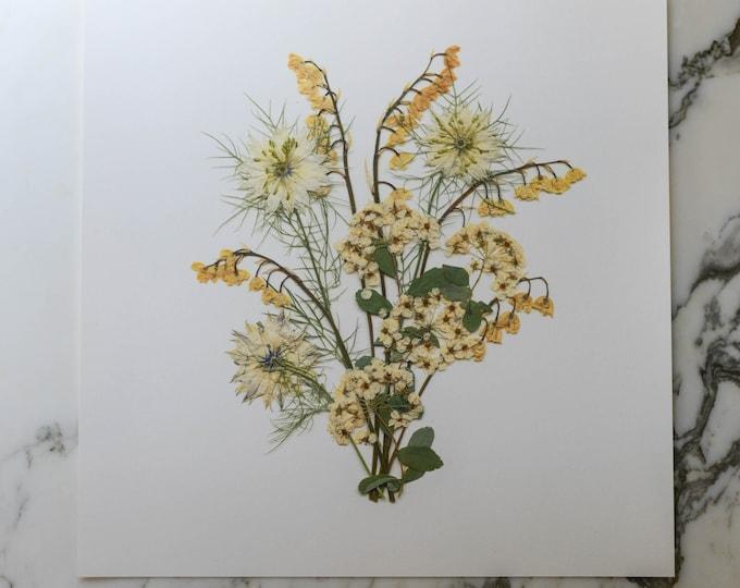 The May Bouquet   Print artwork of pressed flowers   100% cotton rag paper   Birth month flowers, Botanical artwork, Nursery Art