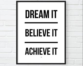 Dream Motivational Print Dental Office Decor Inspirational Poster Gift For Boss Cool Feminist