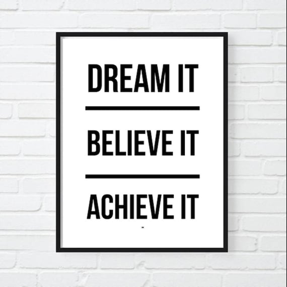Dream Motivational Print Dental Office Decor Inspirational Etsy