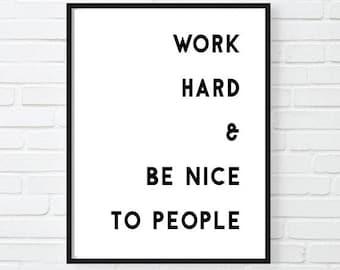 Work Hard Motivational Print, Inspirational Poster, Office Decor, Gift for Boss, Cool Poster, Motivational Poster, GIRL BOSS