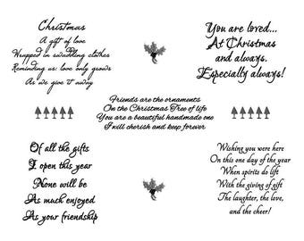 Printable Christmas Sayings Sentiment Stamps Instant Digital Download Digi Collage Sheet Card Verses Quotes Friendship