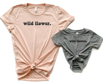 849b52b2735c42 Wild Flower Shirts| Boho Mom and baby matching shirts| Matching shirts for  Mom and Baby| Mommy and Me set| Retro Shirts| Boho Shirts