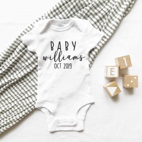 Onesie Announcement Baby Announcement Onesie Pregnancy Announcement Reveal Last Name Onesie Pregnancy Announcement Onesie
