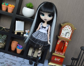 Outfit Rine black small checkered [Pullip, Obitsu 27 cm =]