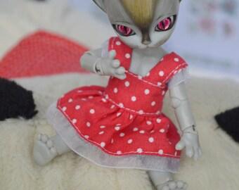 Red with white dots dress [Hujoo Baby Freya & Hujoo 12 cm (1/12)]