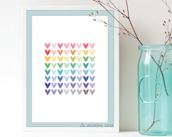 Teen girl room decor, Hearts Prints, Teen room Wall Art, Modern nursery wall art, scandinavian colorful poster