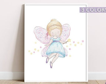 Baby girl nursery wall art, Fairy print, Princess nursery decor, Baby girl prints