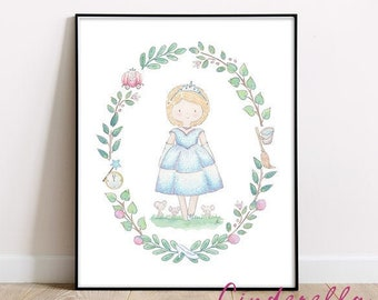 Cinderella, Little girls room art, Princess print, Girls nursery wall art, Baby girl room