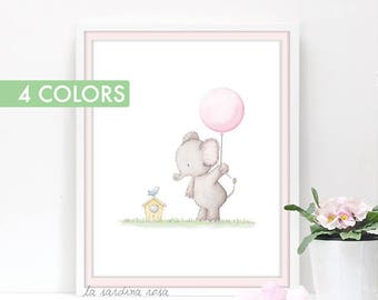 Girl nursery art, Baby elephant nursery decor, Baby Girl room wall art, Baby Prints