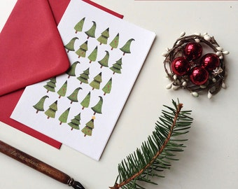 Christmas Gift Cards set, Holiday Greetings Cards, Christmas tree cards, Xmas cards, Gift cards with envelope