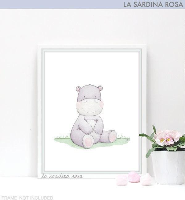 affiche b b hippopotame illustration aquarelle d co. Black Bedroom Furniture Sets. Home Design Ideas