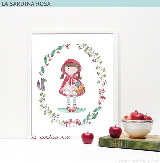 Stampa cappuccetto rosso poster camera bambina for Camera bambina