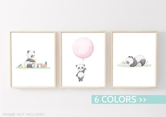 Set 3 poster panda quadri camera bambini 3 stampe panda etsy - Quadri per camera bambini ...