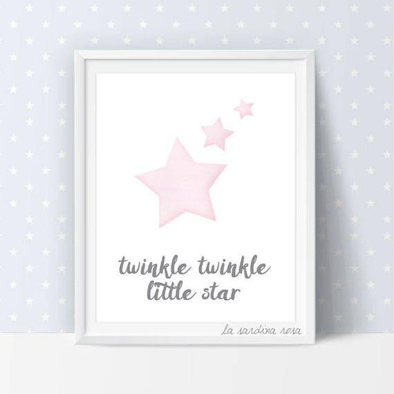 Stars wall art Pink and gray nursery decor Twinkle twinkle | Etsy