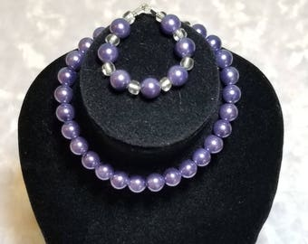 Purple Pearl Necklace and Bracelet - American Girl & Friends
