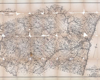 Ulster County New York Map.Map Ulster County Etsy