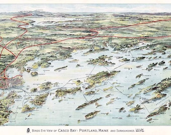 Casco bay map etsy 1906 panoramic map of casco bay portland maine freerunsca Image collections