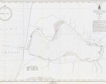 Portage lake map | Etsy