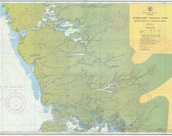 Maritime Vintage Nautical Chart Florida Everglades National Park Whitewater Bay 11433