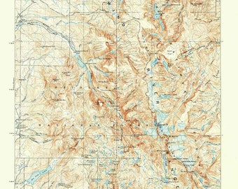 Wind River Range Wyoming Map.Wind River Range Etsy