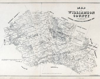 """18/"""" x 24/"""" 1880 Map of Williamson County"""