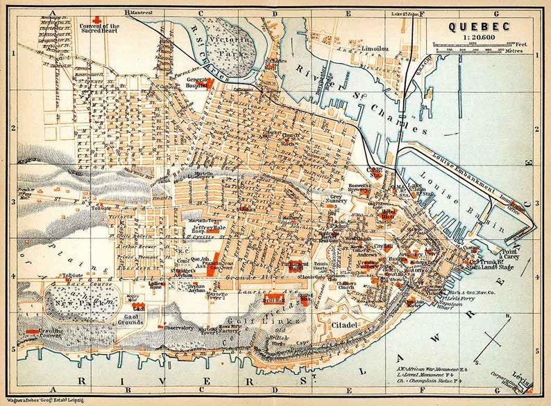 Quebec Karte.1907 Karte Von Quebec City Kanada