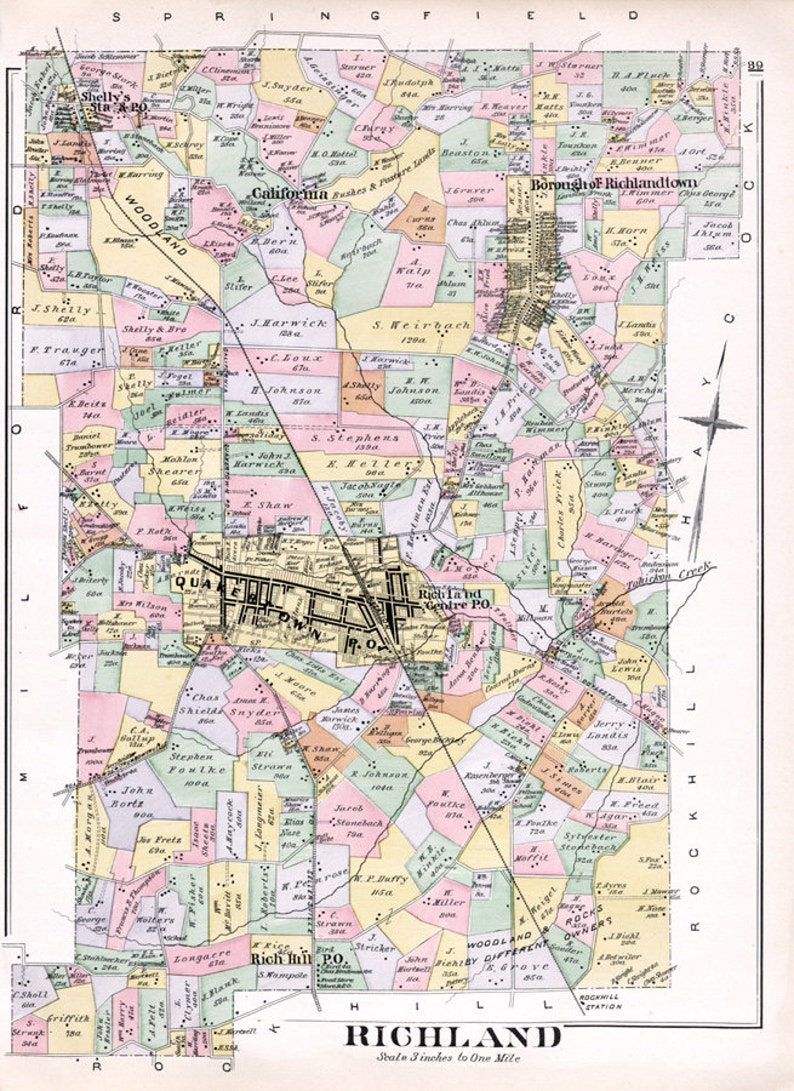 1891 Map of Richland Township Bucks County Pennsylvania
