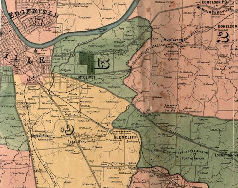1871 Map of Davidson County Tennessee Nashville | Etsy Davidson County Tn Map on