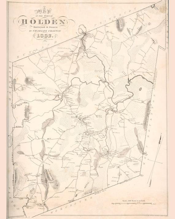 1832 map of holden massachusetts etsy 11 X 14 Wall Frames image